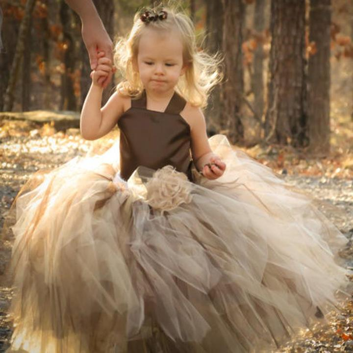 Lovely Satin Top Tulle Flower Girl Dresses, Cheap Lace Up Tutu Dresses, TYP1117