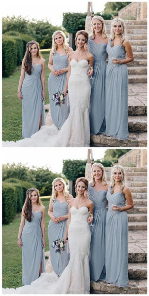 Mismatched Sweetheart Light Grey Long Cheap Chiffon Bridesmaid Dresses Online, TYP1035