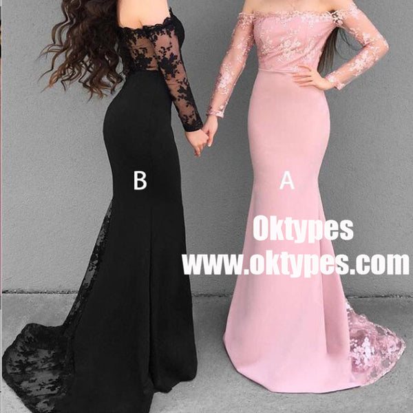 Sheath Off-the-Shoulder Pink Satin Bridesmaid Dresses with Lace Sleeves, TYP0915