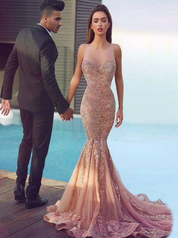 Mermaid Round Neck Illusion Back Blush Tulle Prom Dresses with Appliques&Beading, TYP1253