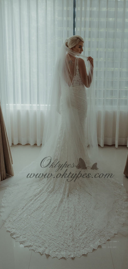 2019 Newest V-neck Lace Long Mermaid Beach Wedding Dresses, TYP1564