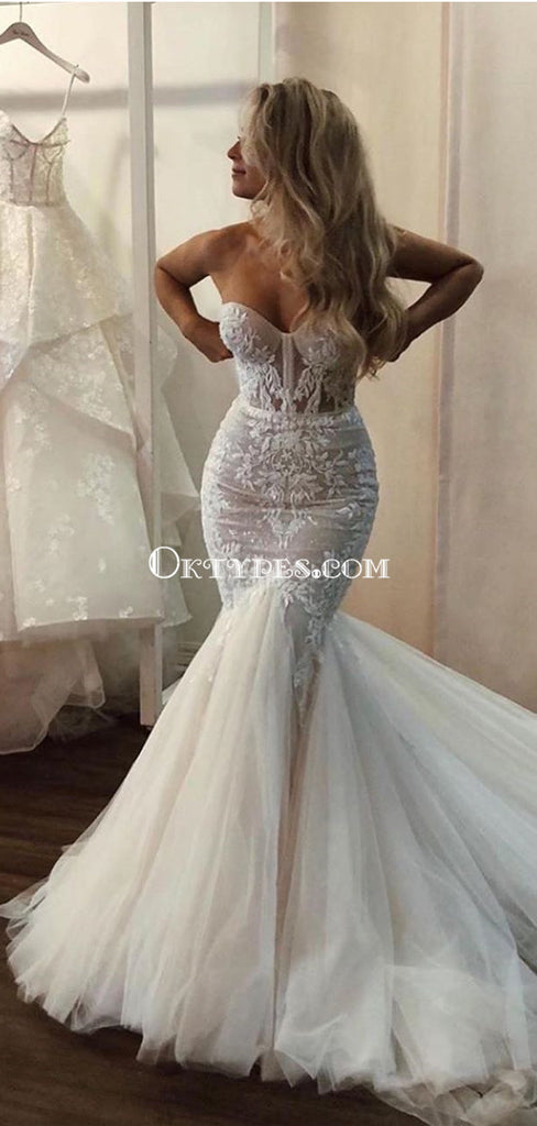Sweetheart Lace Appliqued Tulle Mermaid Long Cheap Wedding Dresses, WDS0074