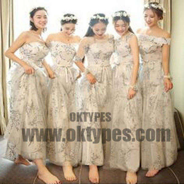 Mismatch Long Appliques Flower Tulle Bridesmaid Dresses, Lovely Bridesmaid Dresses, TYP0594
