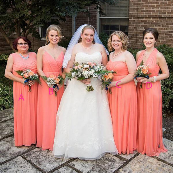 Cheap Watermelon Red Plus Size Mismatched Bridesmaid Dresses, TYP1205 Cheap  Watermelon Red Plus Size Mismatched Bridesmaid Dresses, TYP1205