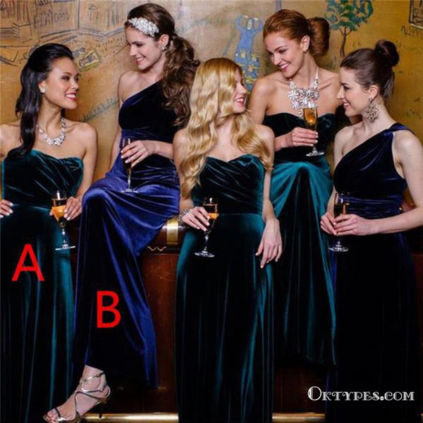 official price skilful manufacture hot-selling real Mismatched Green And Royal Blue Long Cheap Velvet Bridesmaid Dresses,  TYP1752 Mismatched Green And Royal Blue Long Cheap Velvet Bridesmaid  Dresses, ...