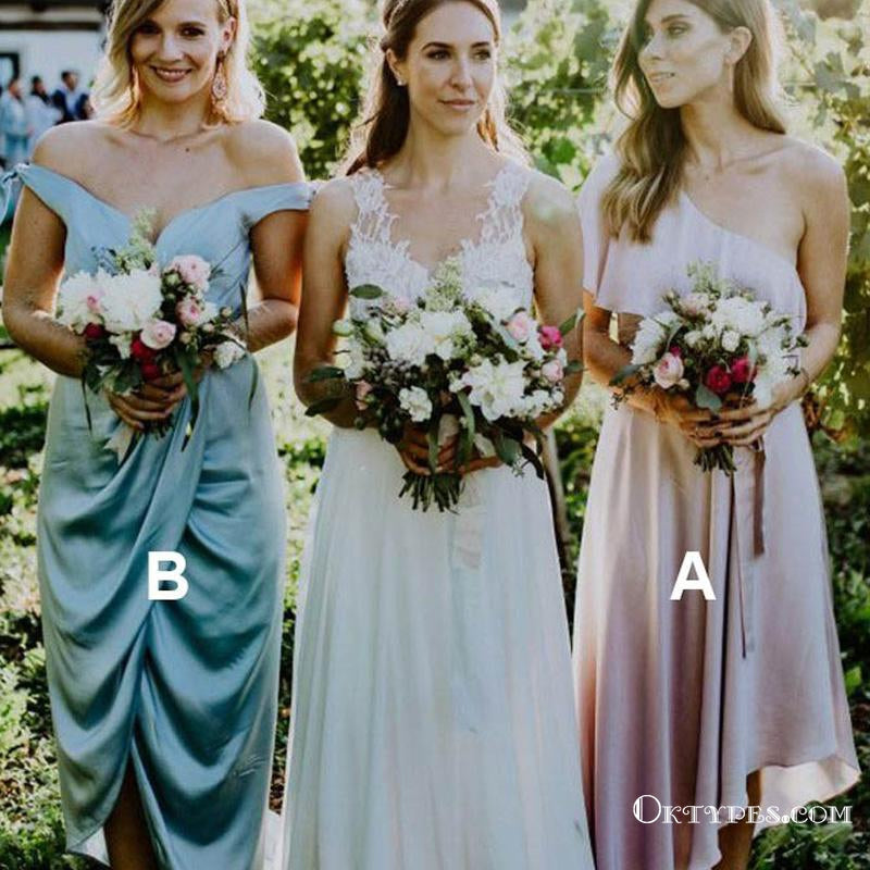 A-Line One-Shoulder Pink Elastic Satin Wedding Party Bridesmaid Dresses, TYP1835