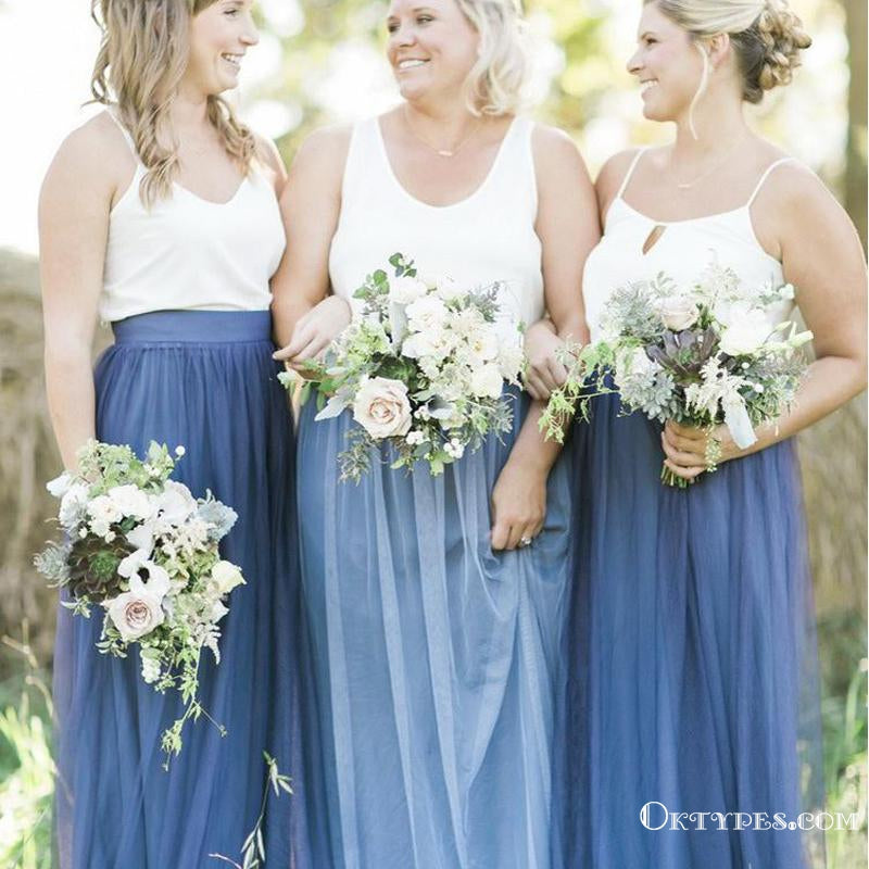 Two Piece Spaghetti Straps Tulle Simple Navy Bridesmaid Dresses, TYP1931