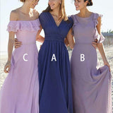 Mismatched A-Line V-Neck Blue Chiffon Bridesmaid Dresses with Ruffle, TYP1319