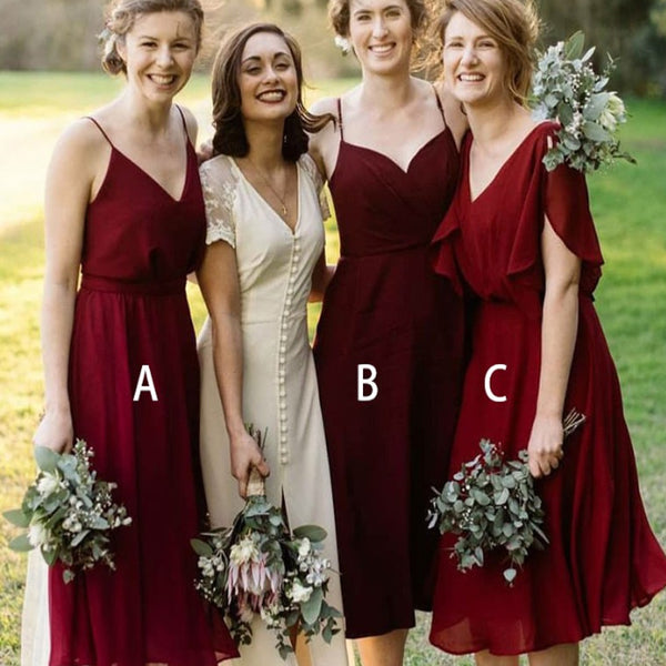 40fff651286 Mismatched A-Line V-Neck Pleated Dark Red Chiffon Bridesmaid Dresses ...