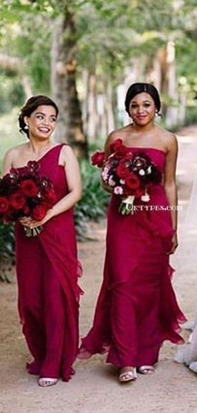 Mismatched Charming Red Chiffon Long Cheap Bridesmaid Dresses, BDS0015