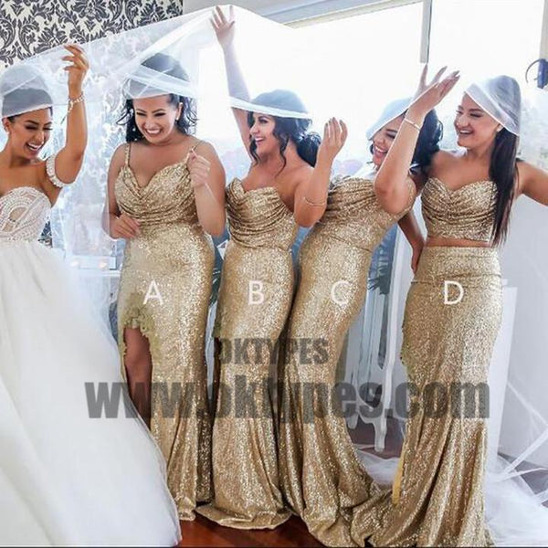 Gold Sequin Mismatches Bridesmaid Dresses, Cheap Popular Wedding Guest Dresses, TYP0649