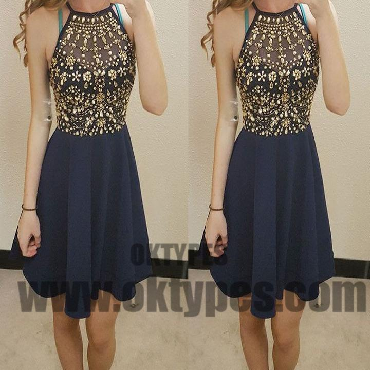 Halter Top Beaded Navy Blue Chiffon Homecoming Dresses, Homecoming Dresses, TYP0607