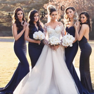 Mermaid Spaghetti Straps Long Cheap Navy Blue Bridesmaid Dresses, TYP1364