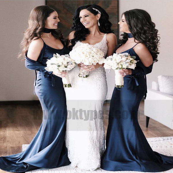 Mermaid Spaghetti Straps Cold Shoulder Navy Blue Bridesmaid Dresses, TYP0730