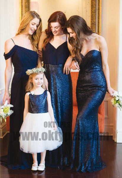 Mismatched A-Line Spaghetti Straps Cold Shoulder Long Bridesmaid Dresses, TYP0702