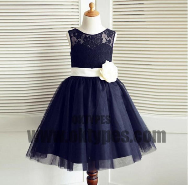 13149df7e Navy Blue Tulle Lace Bowknot Sash Flower Girl Dresses