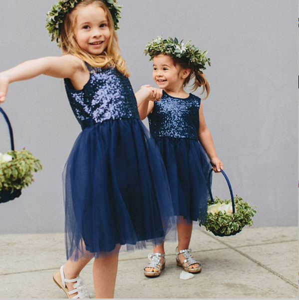 Cute A-Line Round Neck Navy Blue Tulle Flower Girl Dresses with Sequins fb12d5642