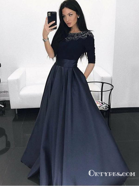 283e2376a A-Line Bateau Long Sleeves Black Beaded Long Prom Dress with Pockets,  TYP1649