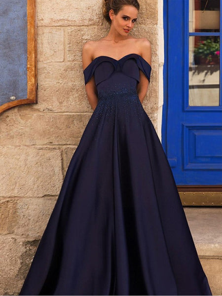 A-Line Off-the-Shoulder Pleated Navy Blue Satin Prom Dresses with Beading, TYP1302