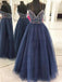 Beautiful  Spaghetti Straps Navy Blue Tulle  Long Prom Dresses with Beading, TYP1344