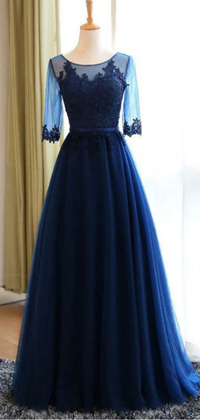 A-Line Round Neck Navy Blue Tulle Prom Dresses with Appliques, TYP1306