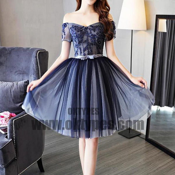Cheap Off Shoulder Short Sleeve Navy Homecoming Dresses 2018, Homecoming Dresses, TYP0610