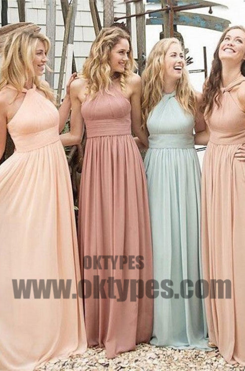 A-line Bridesmaid Dresses, Light Blue Bridesmaid Dresses, Long Bridesmaid Dresses With Pleated Sleeveless Halter, TYP0450