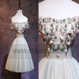Custom Made White Off-Shoulder Floral Applique Tulle A-line Formal Evening Dress, Homecoming Dresses, TYP0782