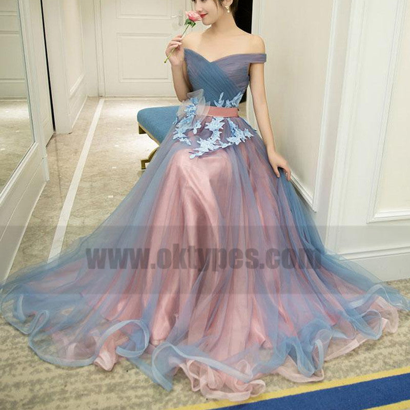 Newest Floor-length Two Piece Lace Appliques  Printed Round Neck Long Prom Dresses, TYP0748
