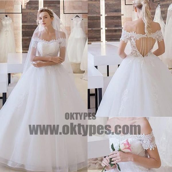 Vantage Off Shoulder Short Sleeve Lace Top Open Back Tulle Wedding Dresses, TYP0520