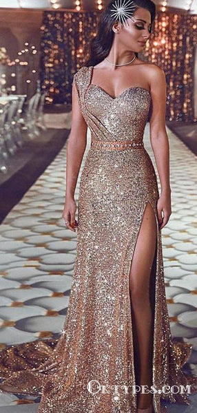 Sheath One-Shoulder Long Cheap Gold Sequined Prom Dresses with Split, TYP1347
