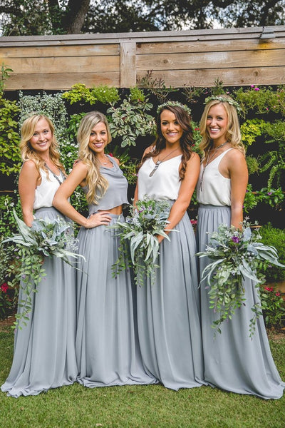 2019 Cheap New Design Popular Simple Two Pieces Bridesmaid Dresses, TYP1132