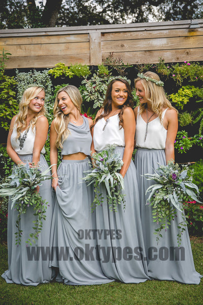Two Piece Chiffon Floor Length Bridesmaid Dresses, Cowl Simple Bridesmaid Dresses, TYP0393