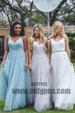 2018 Tulle Long Newest Bridesmaid Dresses With Little Beading, Lovely Bridesmaid Dresses, TYP0391