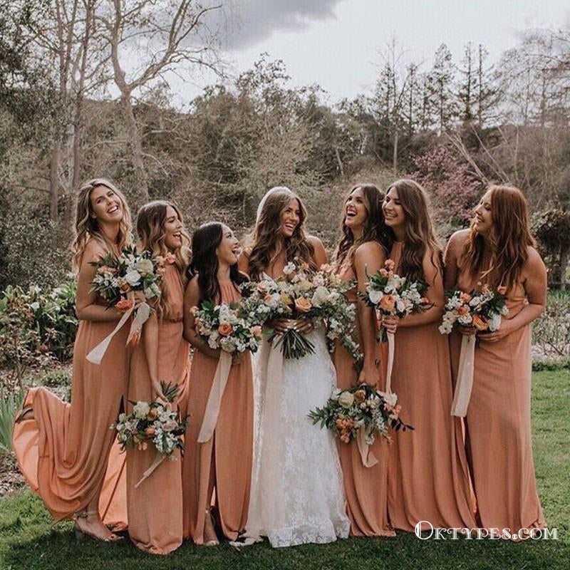 Sheath Crew Long Cheap Dusty Orange Chiffon Bridesmaid Dresses with Split, TYP1369