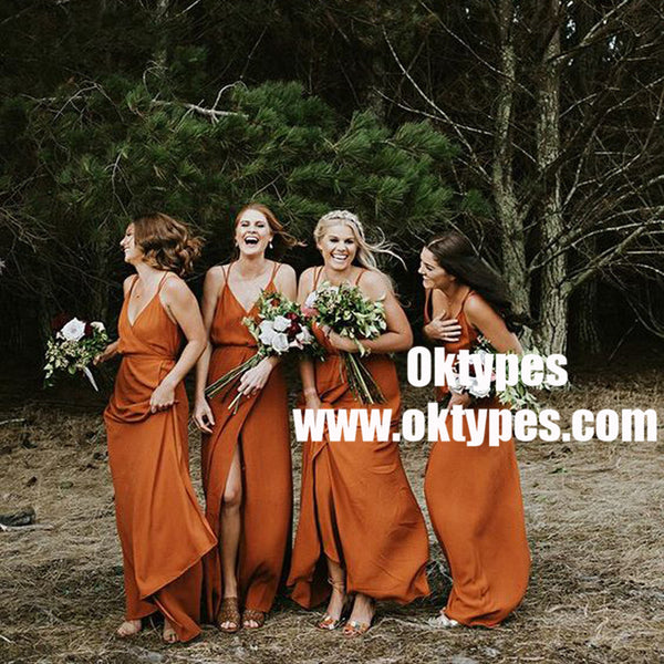 A-Line V-Neck Orange Chiffon Bridesmaid Dress with Split, TYP0873
