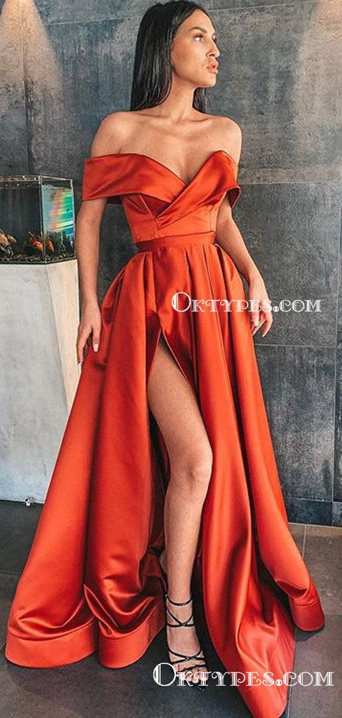 Charming A-Line Orange Satin Off-the-Shoulder High Split Long Cheap Prom Dresses with Pockets, PDS0033