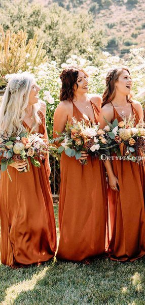 New Arrival V-neck Orange Elastic Silk Long Charming Cheap Bridesmaid Dresses, BDS0055