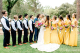 Newest Hot Selling Mismtached Yellow Elastic Silk Long Cheap Cute Wedding Party Bridesmaid Dresses, TYP2045