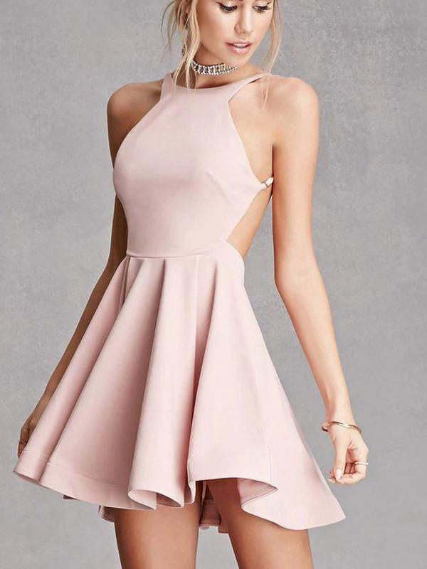 Sexy Backless Pink Cheap Homecoming Dresses Under 100, CM400