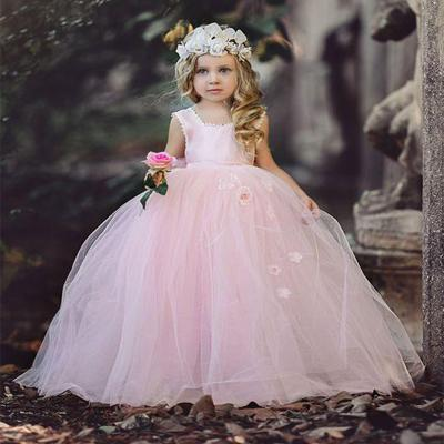 Pink Halter Long Cheap Tulle Flower Girl Dresses With Handmade Flower, TYP1116