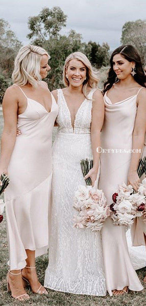 Charming Spaghetti Strap Blush Pink Elastic Silk Long Cheap Wedding Party Bridesmaid Dresses, BDS0004