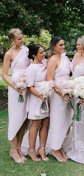 Charming One Shoulder Pink Side Slit Long Cheap Wedding Party Bridesmaid Dresses, BDS0003