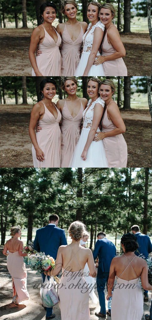A-Line Spaghetti Straps Blush Pink Long Bridesmaid Dresses with Split, TYP1553