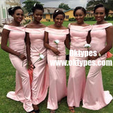 New Fashion Off-shoulder Pink Cheap Mermaid Simple Bridesmaid Dresses, TYP0832