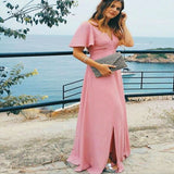 Unique V-Neck Short Sleeves Side Slit Pink Chiffon Long Cheap Bridesmaid Dresses Online, TYP1051