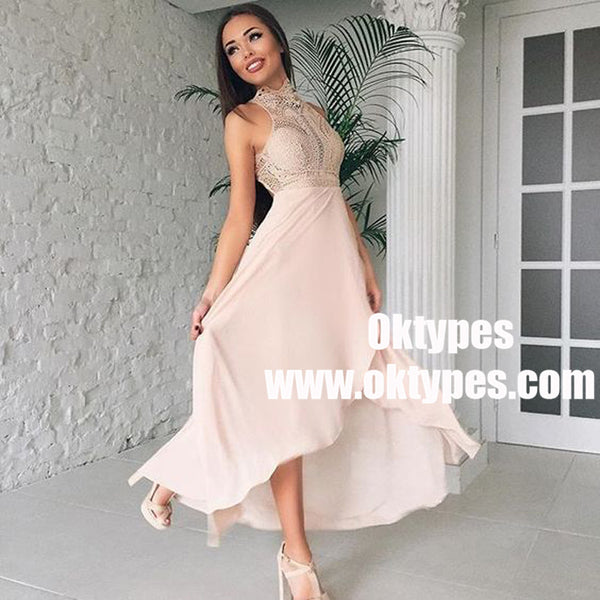 A-Line High Neck High Low Pink Long Bridesmaid Dress with Lace, TYP0935