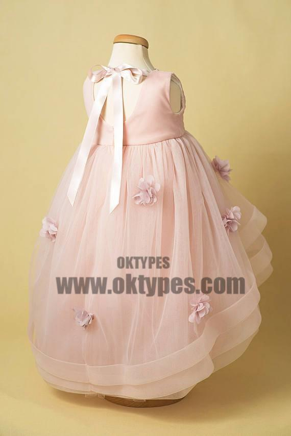 Light Pink Tulle Handmade Flower Little Girl Dresses, Cheap Flower Girl Dresses, TYP0691
