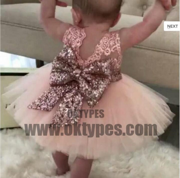 Pink Lace Tulle Bowknot Applique Flower Girl Dresses, Lovely Tutu Dresses, TYP0694