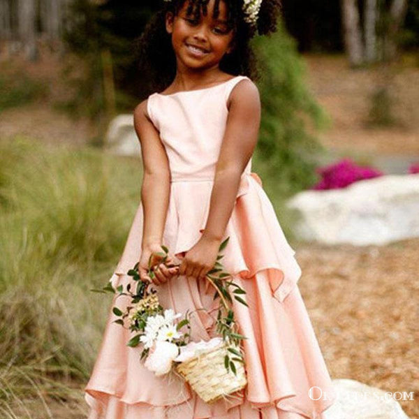 Newest Jewel Sleeveless Pink Long Flower Girl Dresses With Ruffles, TYP1957